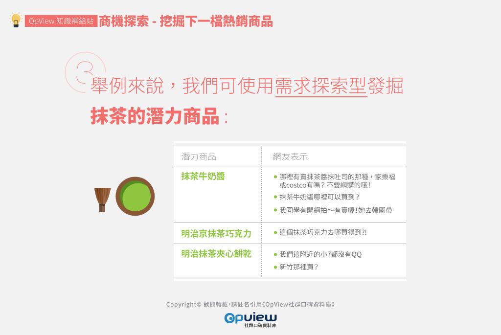 舉例來說,我們可使用需求探索型發掘抹茶的潛力商品: